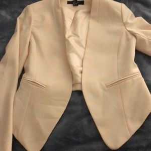 Cream Forever 21 asymmetrical blazer